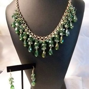 Jewelry - Forest Green Crystal Necklace and Earrings